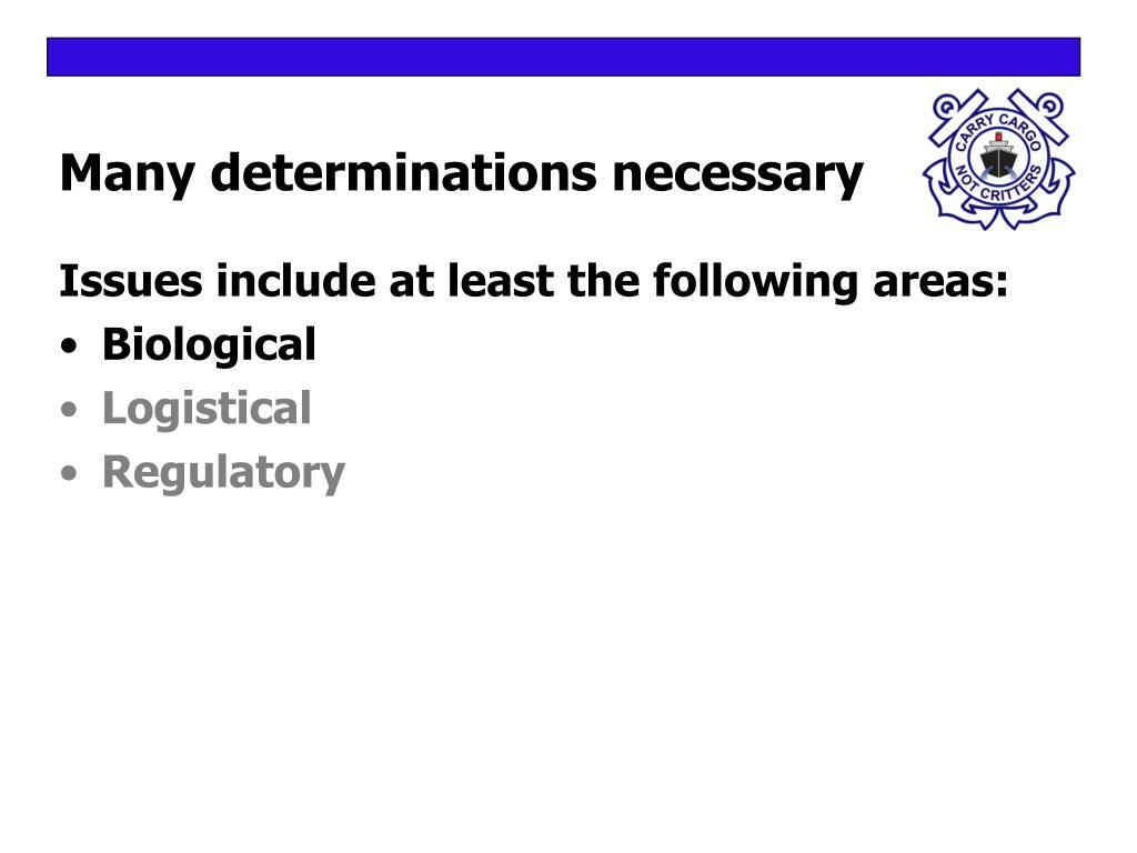 Many determinations necessary