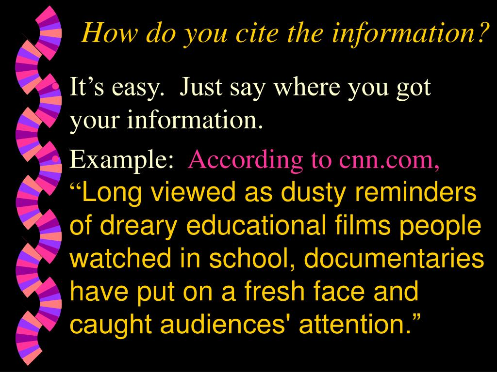 How do you cite the information?
