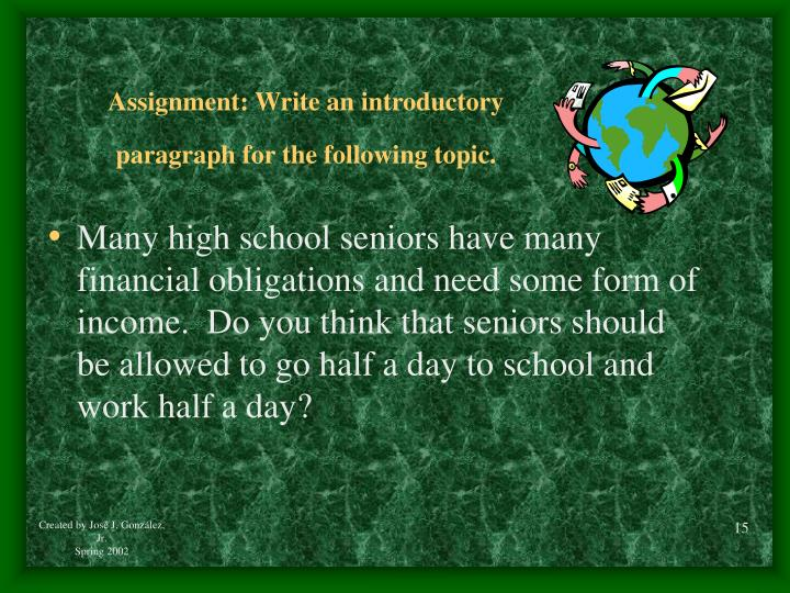 Assignment: Write an introductory
