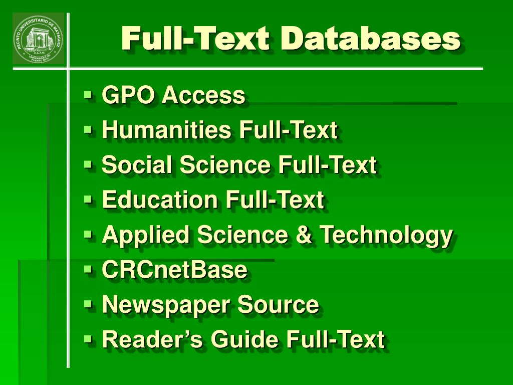 Full-Text Databases