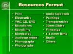 resources format