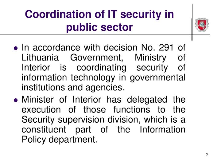 Coordination of it security in public sector