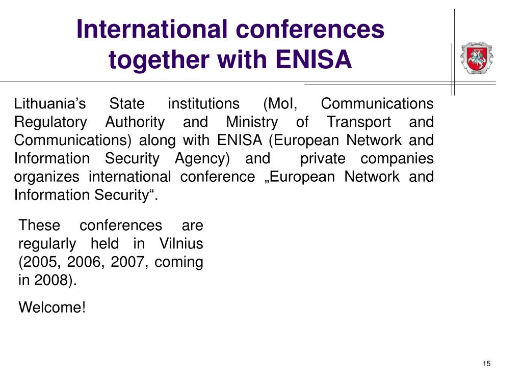 International conferences together with ENISA