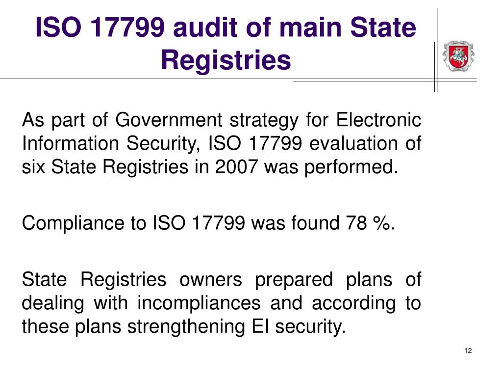 ISO 17799 audit of