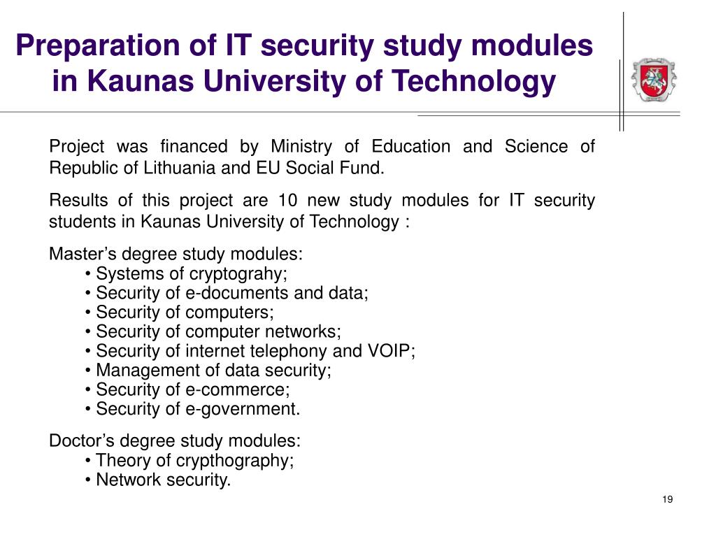 Preparation of IT security study modules in Kaunas University of Technology