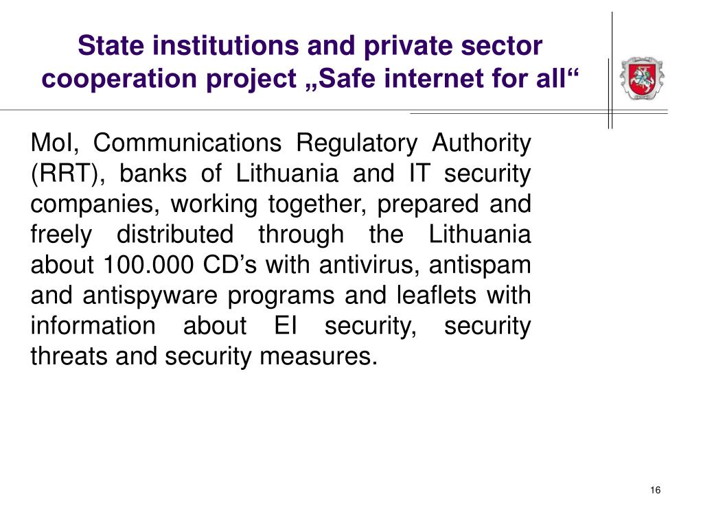 "State institutions and private sector cooperation project ""Safe internet for all"""