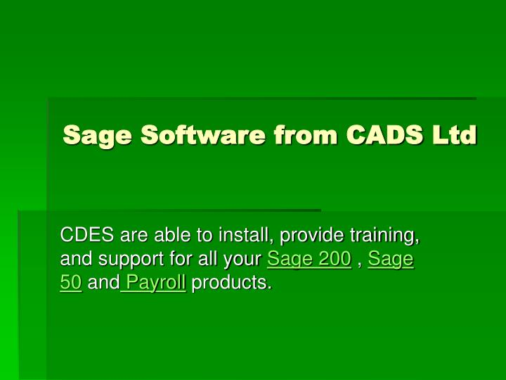 Sage software from cads ltd