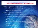 1 pre departure phase 16 hours min