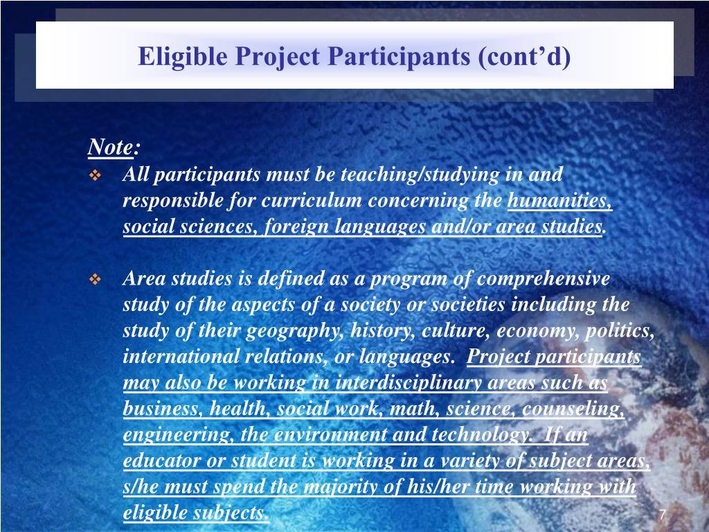 Eligible Project Participants (cont'd)