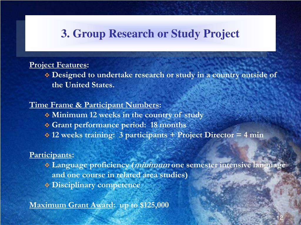3. Group Research or Study Project