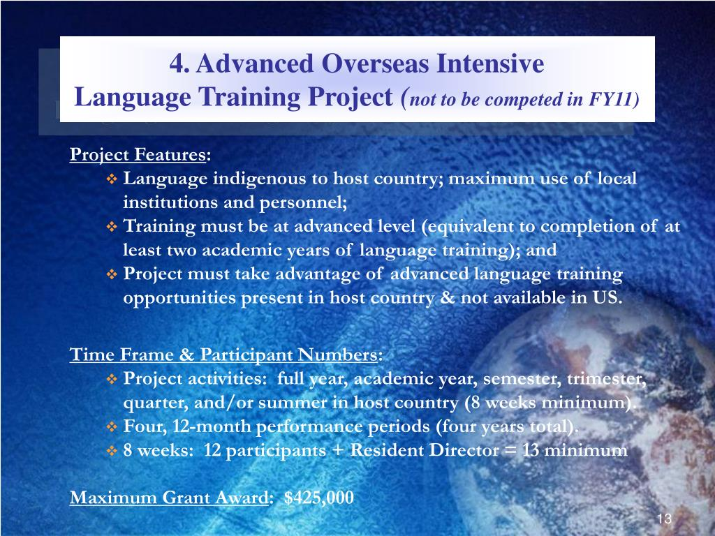 4. Advanced Overseas Intensive