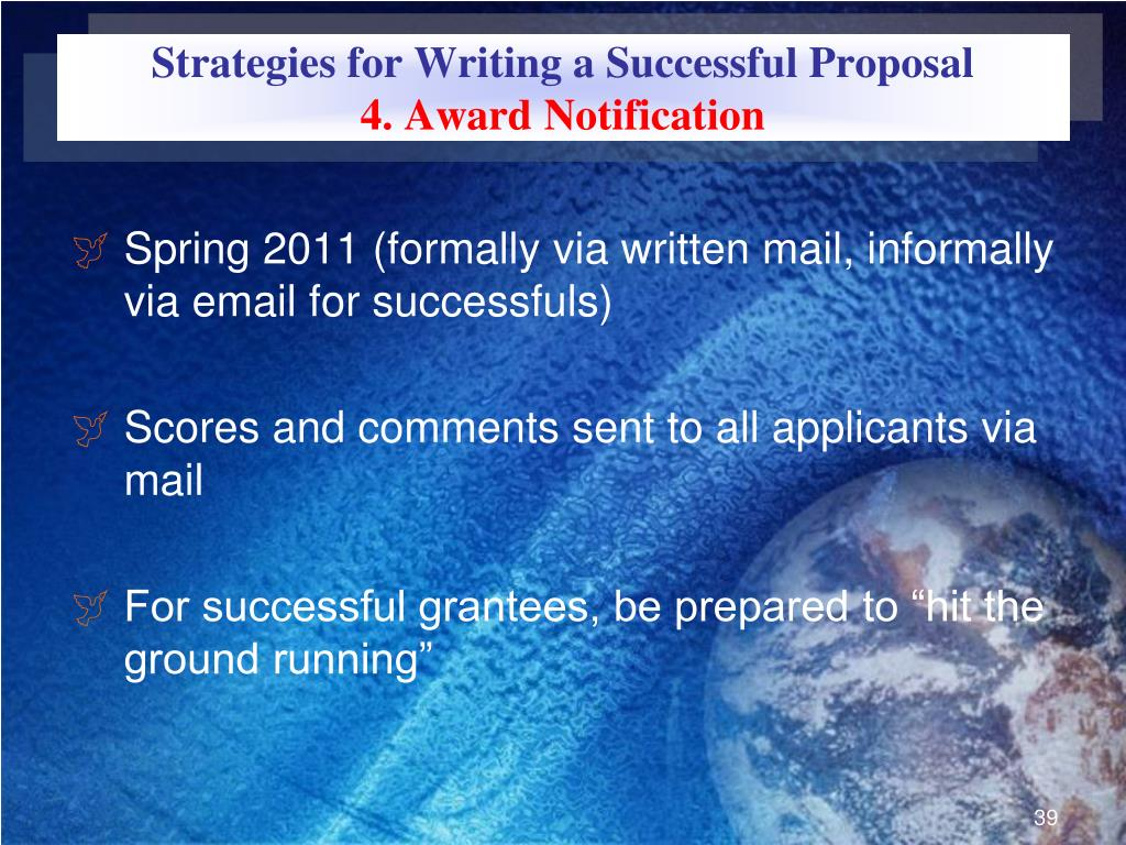 Strategies for Writing a Successful Proposal