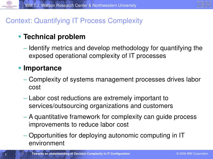 Context: Quantifying IT Process Complexity