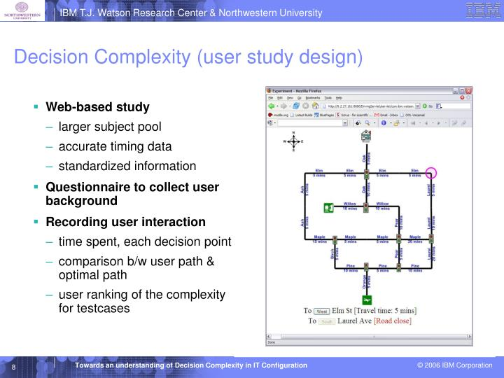 Decision Complexity (user study design)