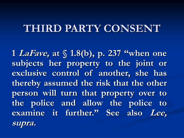 THIRD PARTY CONSENT