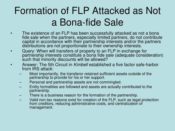 Formation of FLP Attacked as Not a Bona-fide Sale