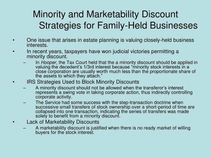 Minority and Marketability Discount Strategies for Family-Held Businesses