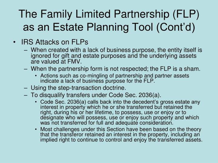 The Family Limited Partnership (FLP) as an Estate Planning Tool (Cont'd)