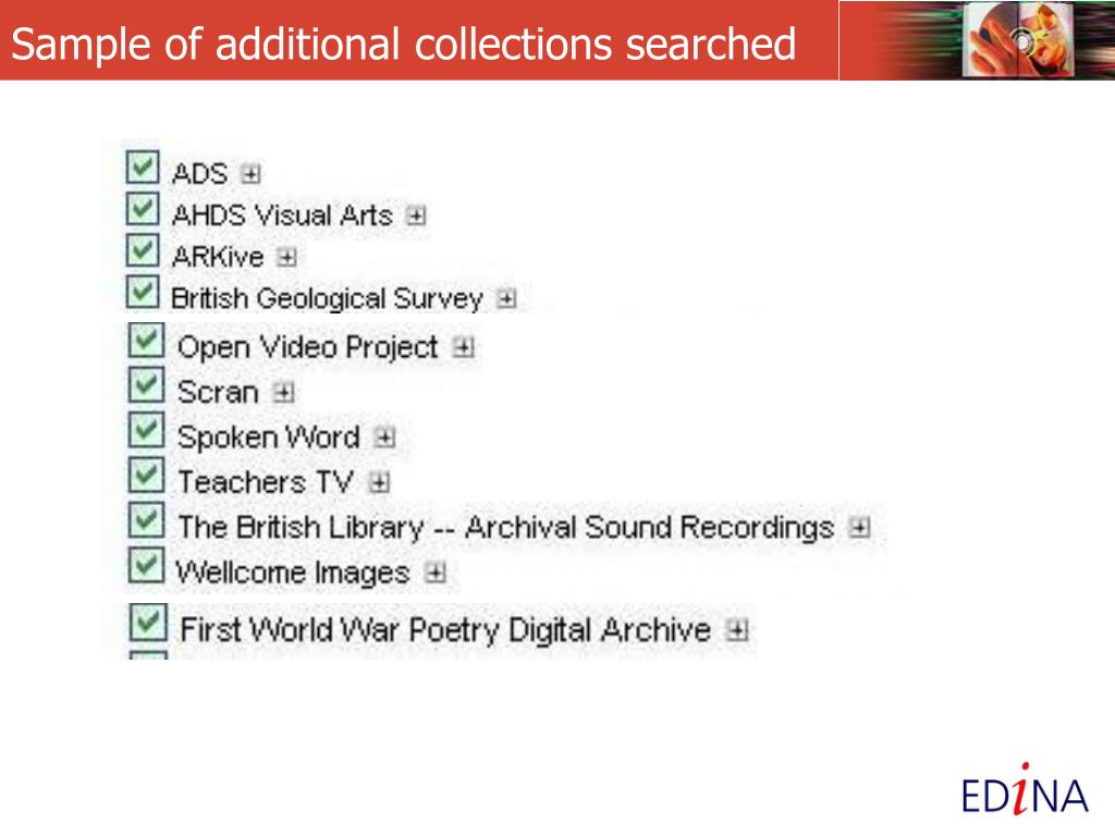 Sample of additional collections searched