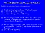 authorized user qualifications