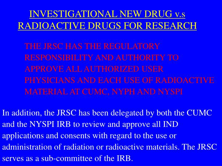 INVESTIGATIONAL NEW DRUG v.s RADIOACTIVE DRUGS FOR RESEARCH