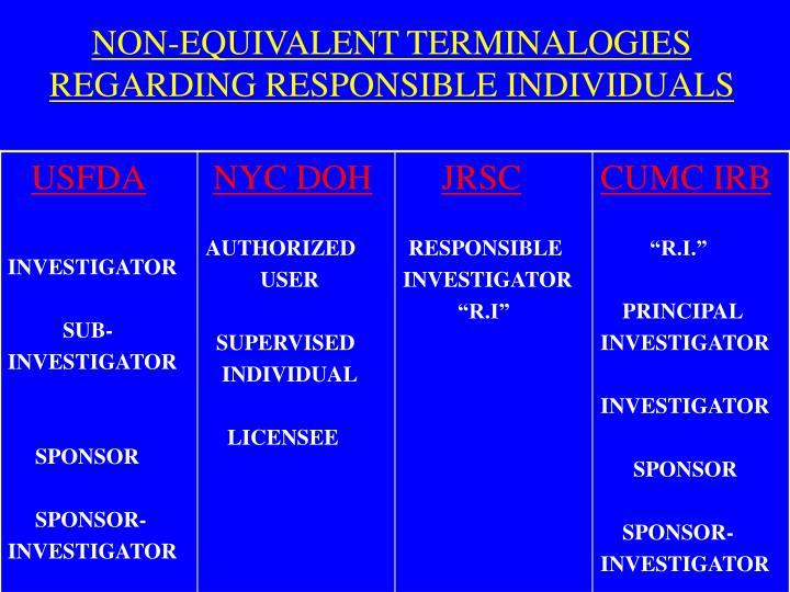 NON-EQUIVALENT TERMINALOGIES REGARDING RESPONSIBLE INDIVIDUALS