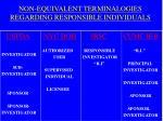non equivalent terminalogies regarding responsible individuals
