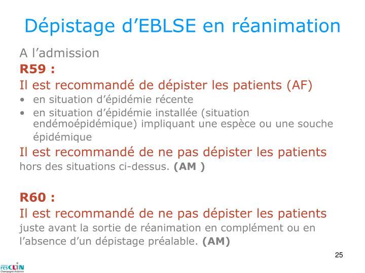 Dépistage d'EBLSE en réanimation