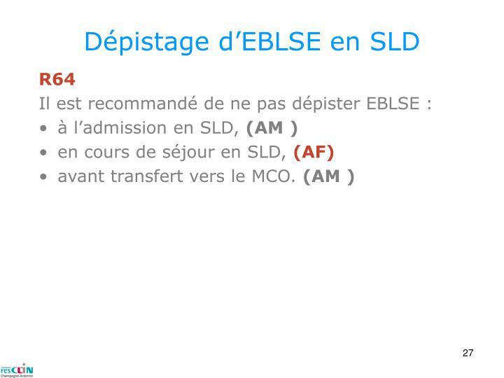 Dépistage d'EBLSE en SLD