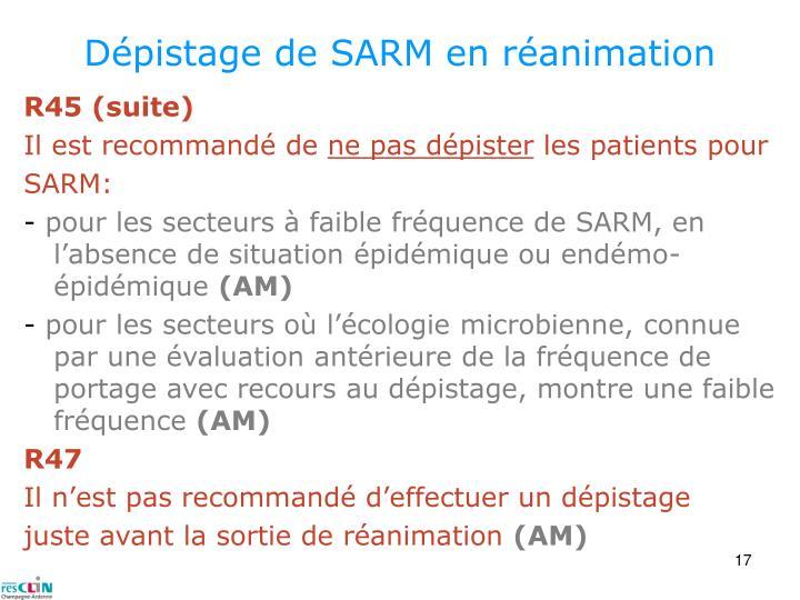 Dépistage de SARM en réanimation
