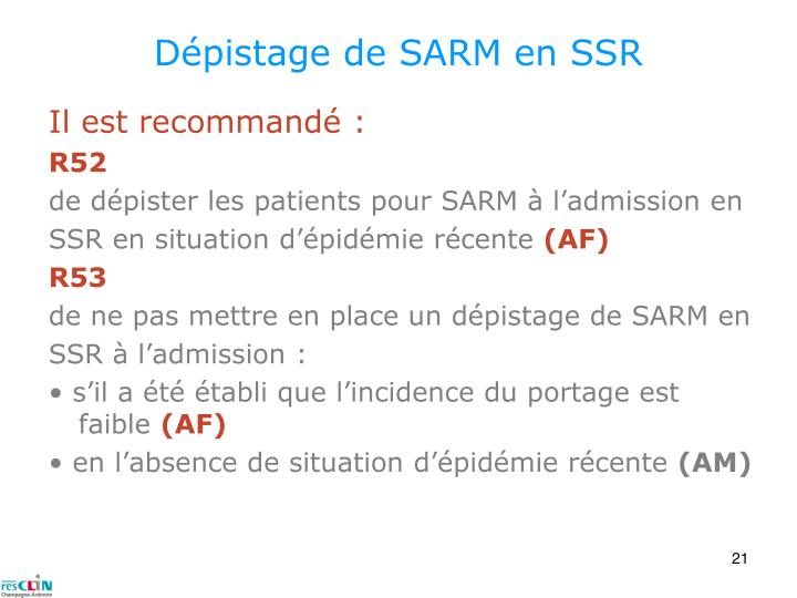Dépistage de SARM en SSR