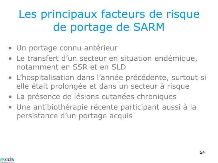 Les principaux facteurs de risque de portage de SARM