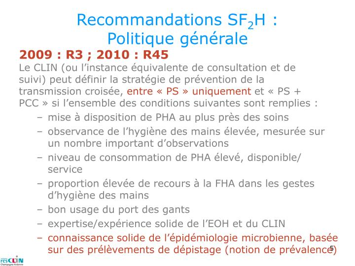 Recommandations SF