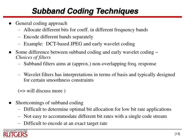 Subband Coding Techniques