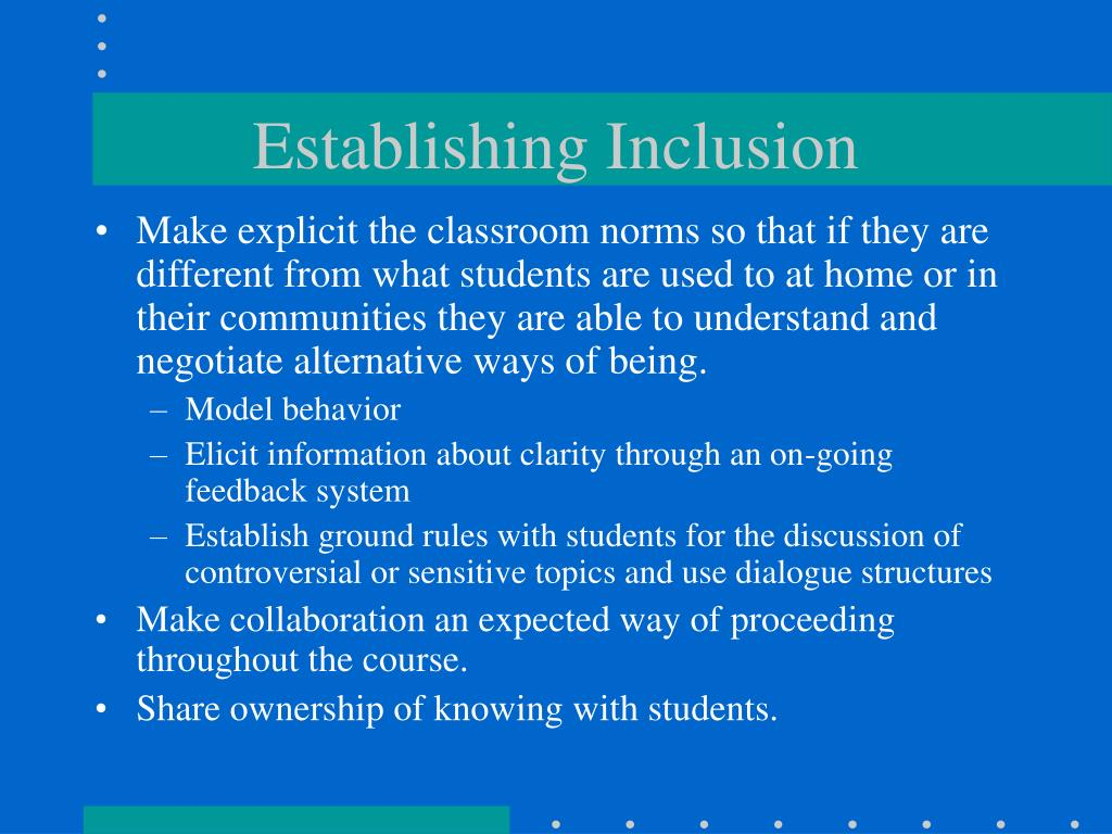 Establishing Inclusion