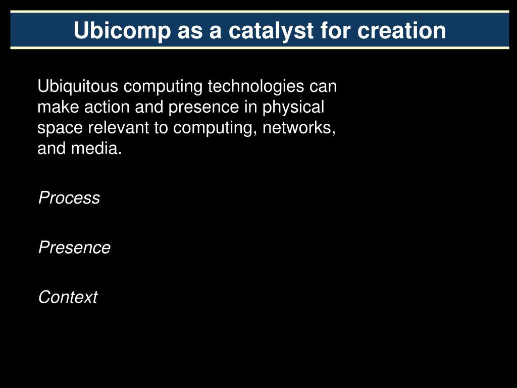 Ubicomp as a catalyst for creation