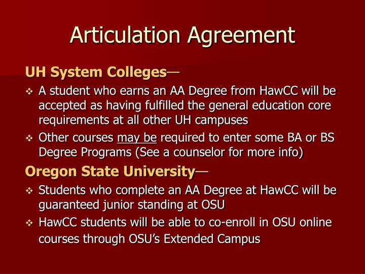 Articulation Agreement