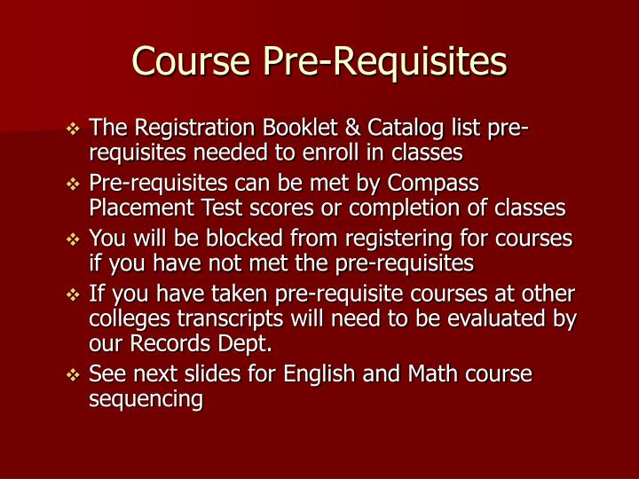 Course Pre-Requisites