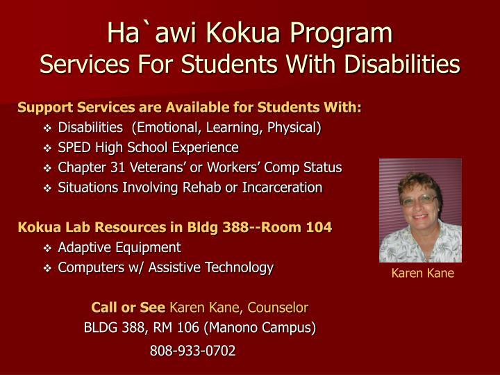 Ha`awi Kokua Program