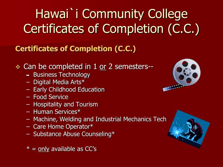 Hawai`i Community College Certificates of Completion (C.C.)