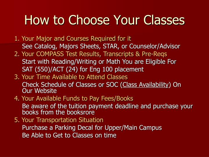 How to Choose Your Classes