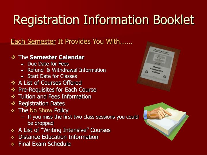 Registration Information Booklet