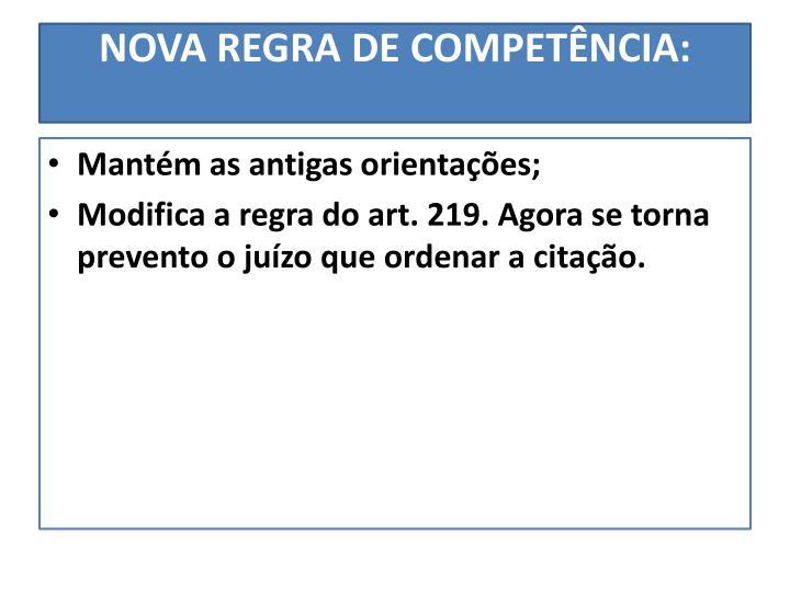 NOVA REGRA DE COMPETÊNCIA: