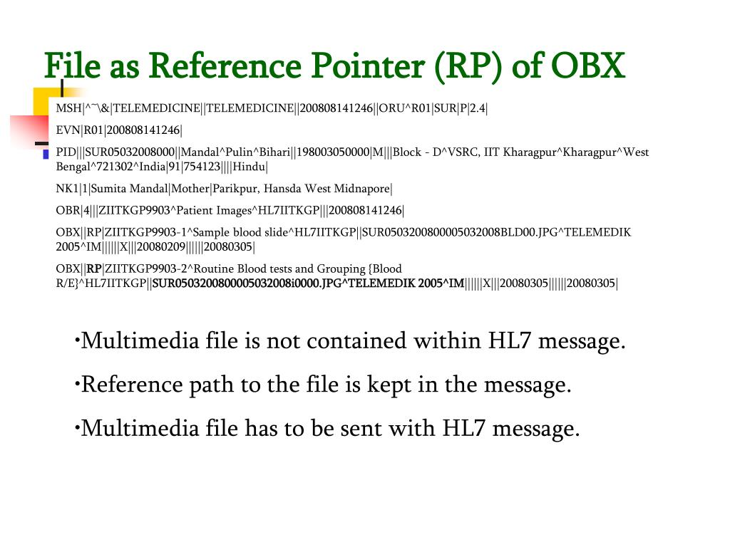 File as Reference Pointer (RP) of OBX