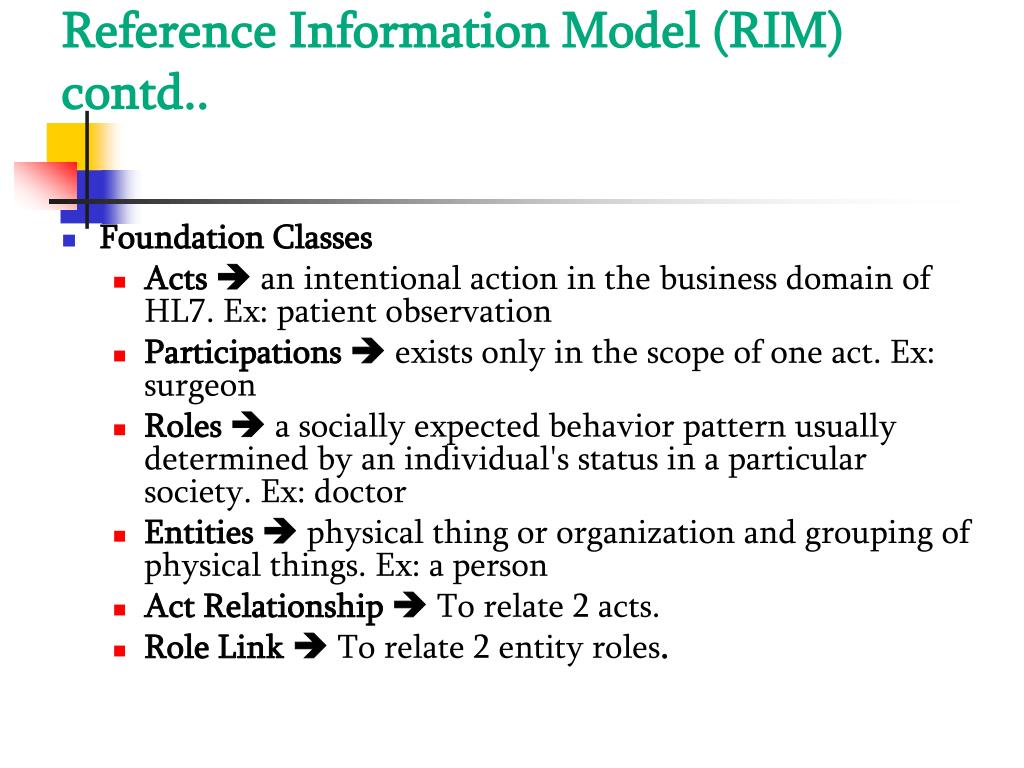 Reference Information Model (RIM) contd..