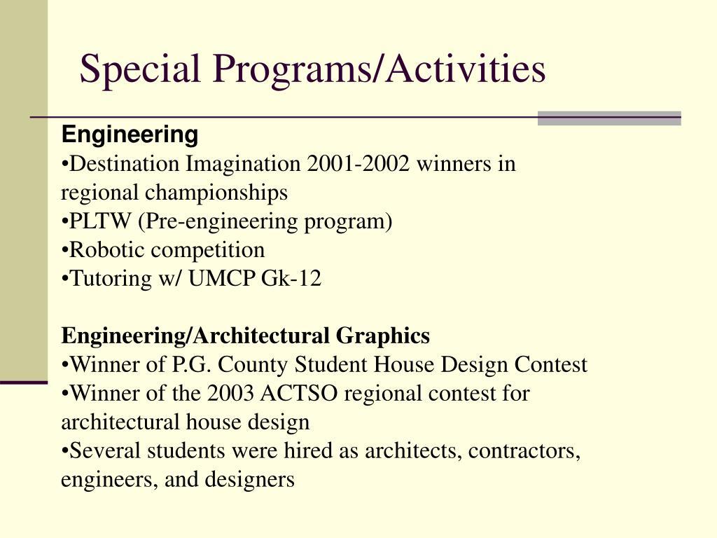 Special Programs/Activities