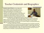 teacher credentials and biographies23