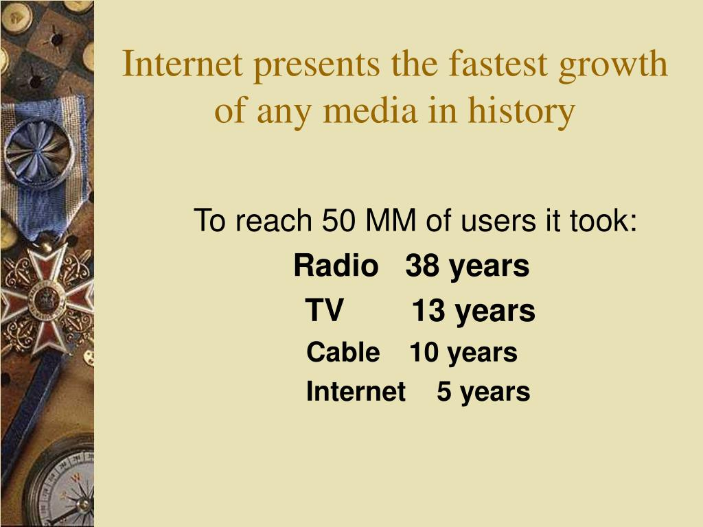 Internet presents the fastest growth of any media in history