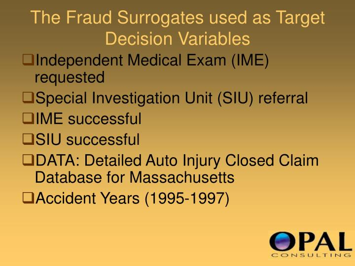 The Fraud Surrogates used as Target Decision Variables