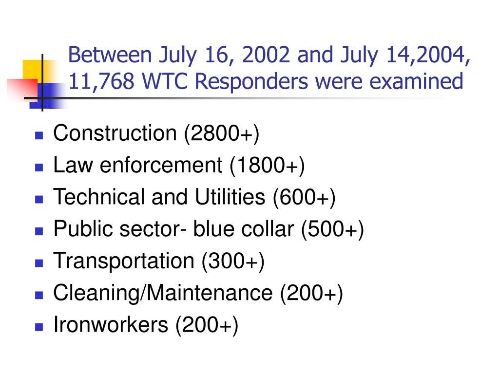 Between July 16, 2002 and July 14,2004, 11,768 WTC Responders were examined